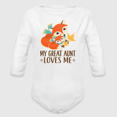 Aunt My Great Aunt Loves Me Woodland Fox - Organic Long Sleeve Baby Bodysuit