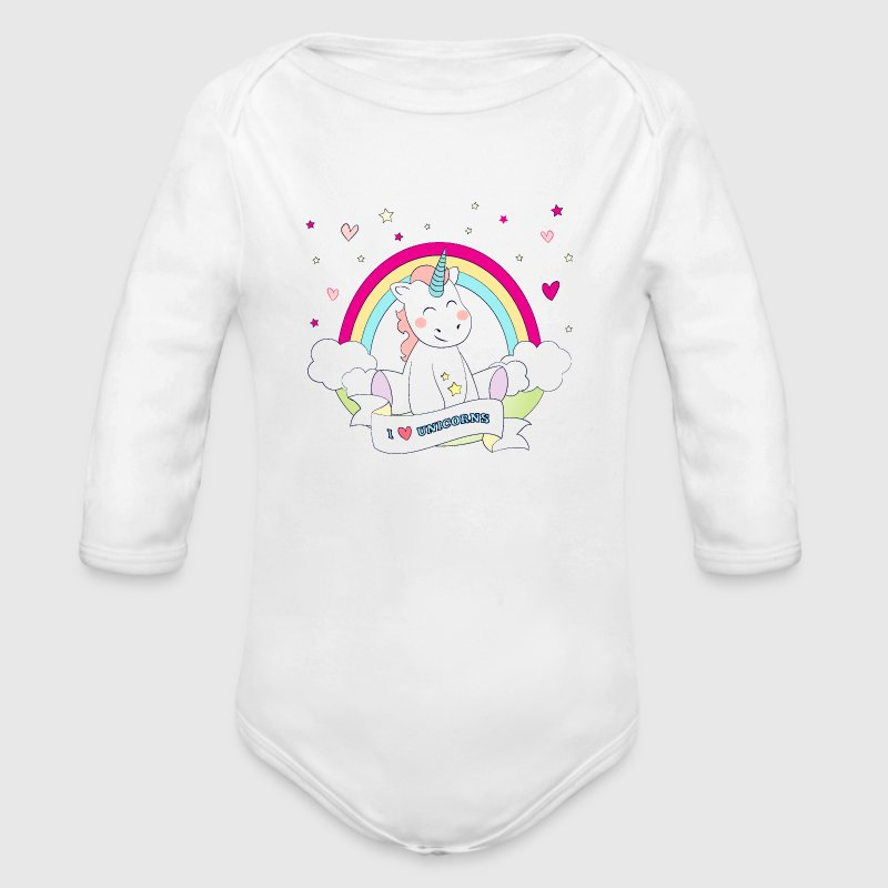 I Love Unicorns - Organic Long Sleeve Baby Bodysuit
