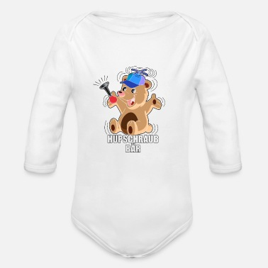 Renner hubschraubbaer - Helicopter in german - Organic Long-Sleeved Baby Bodysuit