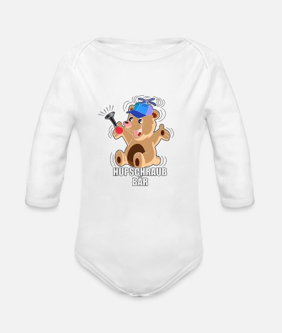 Renner Baby One Pieces - hubschraubbaer - Helicopter in german - Organic Long-Sleeved Baby Bodysuit white