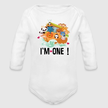 Ark 1st Birthday Noah Ark Im One - Organic Long Sleeve Baby Bodysuit