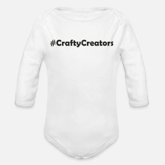 Design Baby Clothing - Crafty Creators White Stitched Black Linen Text - Organic Long-Sleeved Baby Bodysuit white