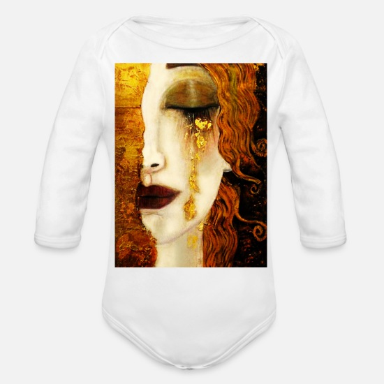 Klimt Baby Clothing - Golden Tears - Organic Long-Sleeved Baby Bodysuit white
