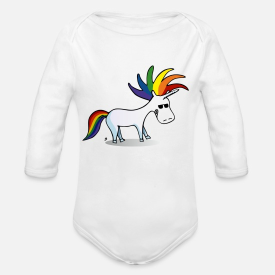 Unicorn Baby Clothing - Punky Unicorn - Organic Long-Sleeved Baby Bodysuit white