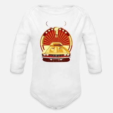 Buffalo skull with car - Organic Long-Sleeved Baby Bodysuit