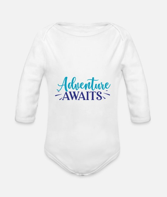 Hay Baby One Pieces - Adventure Awaits - Organic Long-Sleeved Baby Bodysuit white
