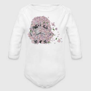 Stormtrooper Helmet with Cherry Blossoms 1 - Organic Long Sleeve Baby Bodysuit