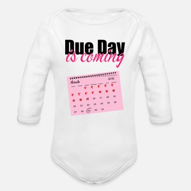 Date Of Birth Pregnancy due date birth gift - Organic Long Sleeve Baby Bodysuit