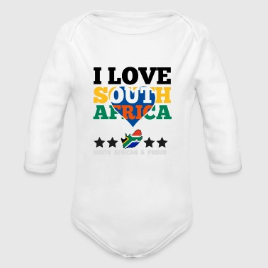 I Love south africa - Organic Long Sleeve Baby Bodysuit