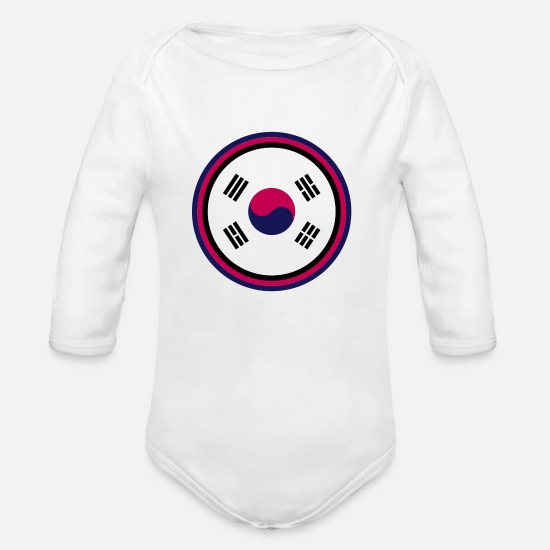 Korea Baby Clothing - south korea - Organic Long-Sleeved Baby Bodysuit white