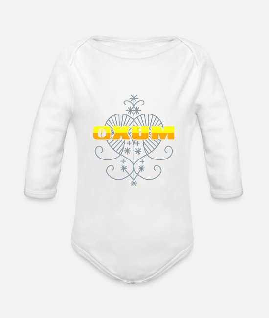 Oshun Baby One Pieces - Oxum Veve 02 - Oshun - Organic Long-Sleeved Baby Bodysuit white