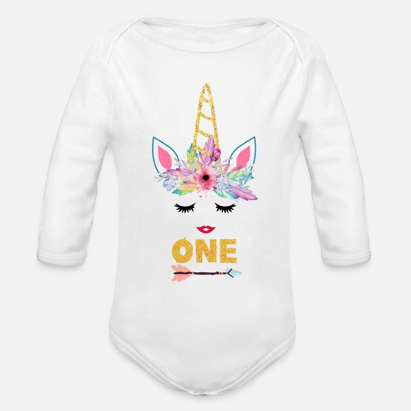 Organic Long Sleeved Baby BodysuitUnicorn Girl Unicorn 1st Birthday Shirt