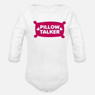 Pillow PILLOW TALKER on a pillow with love hearts - Organic Long-Sleeved Baby Bodysuit