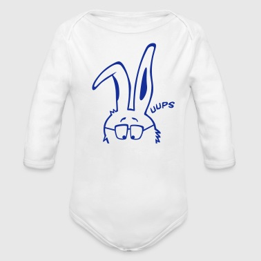 interested bunny, rabbit,  bunnies,  hare,  cony,  leveret,  bimbo,  supruse, sweat, ears, glasses - Organic Long Sleeve Baby Bodysuit