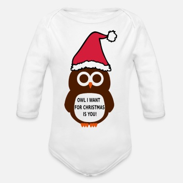 Cute Christmas Owl Xmas Funny - Organic Long-Sleeved Baby Bodysuit