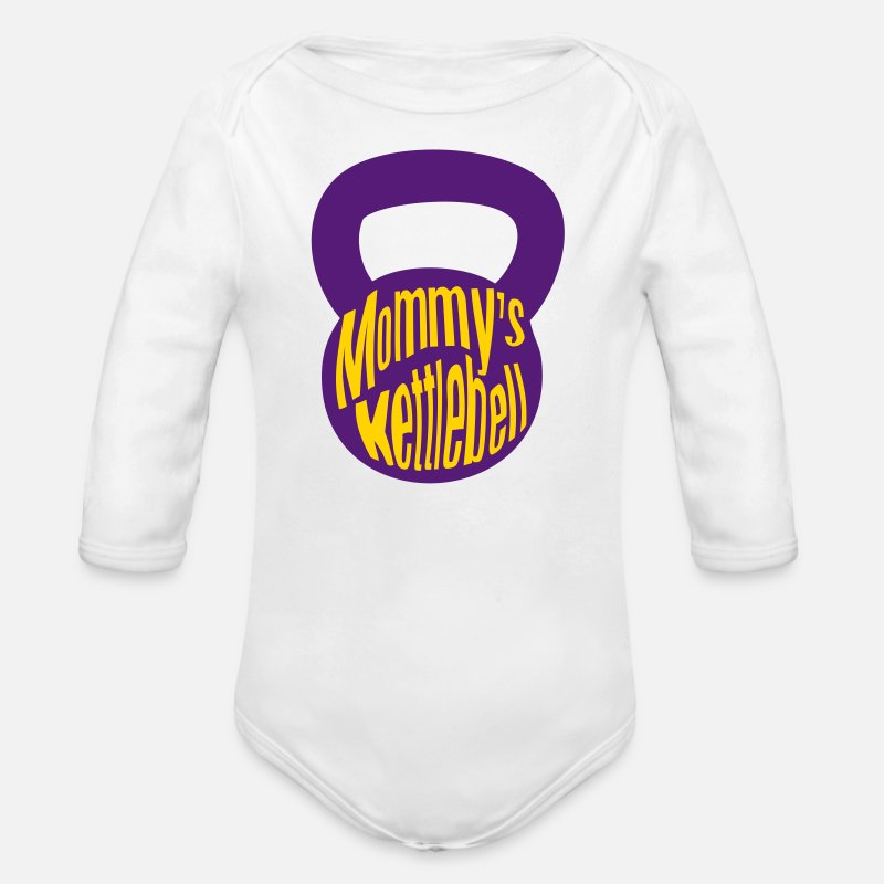 Weightlifting Baby Clothing - Mommy's Kettlebell - Organic Long-Sleeved Baby Bodysuit white