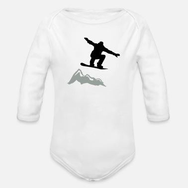 Lumilautailu Snowboarder jump Mountain - Organic Long-Sleeved Baby Bodysuit