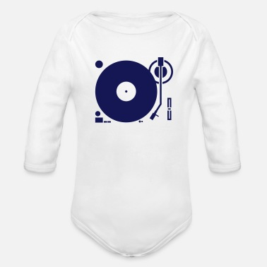 Platter headphones record disc platter disk dj play vinyl spin - Organic Long-Sleeved Baby Bodysuit