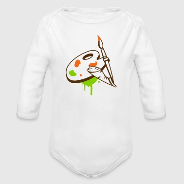 Paint brush, color and painter's palette - Organic Long Sleeve Baby Bodysuit