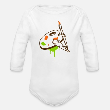 Paint Brush Paint brush, color and painter's palette - Organic Long Sleeve Baby Bodysuit