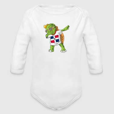 Dominican Republic Dominican Republic Dabbing Turtle - Organic Long Sleeve Baby Bodysuit