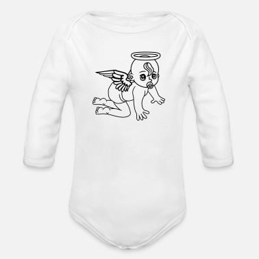 Ángel affectionate angels angel angels angels angels ang - Organic Long-Sleeved Baby Bodysuit