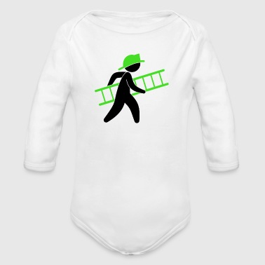 A Firefighter With A Ladder - Organic Long Sleeve Baby Bodysuit