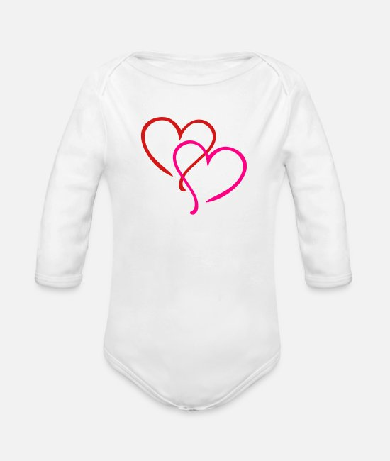 Sweetheart Baby One Pieces - Heart Hearts - Organic Long-Sleeved Baby Bodysuit white