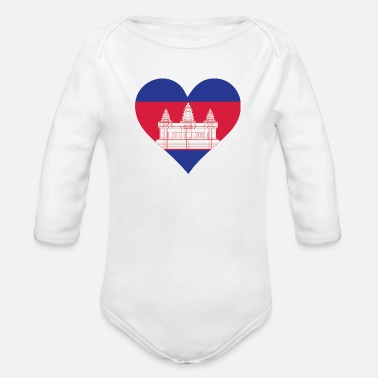 Krama A Heart For Cambodia - Organic Long-Sleeved Baby Bodysuit