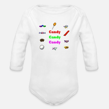 Candy candy candy candy - Organic Long Sleeve Baby Bodysuit