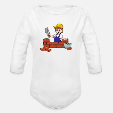 Bricklayer Mason Bricklayer Brickie - Organic Long Sleeve Baby Bodysuit
