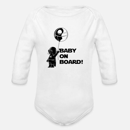 Darth Baby Clothing - Darth Vader Baby Darth Vader - Organic Long-Sleeved Baby Bodysuit white