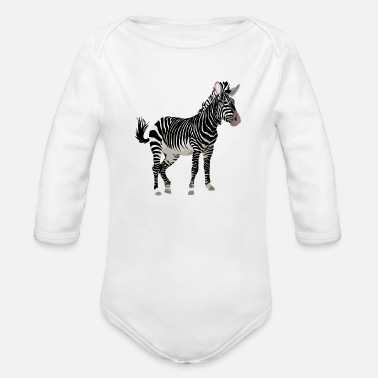 Zebra Stripes Africa Zebra with stripes in Safari - Organic Long Sleeve Baby Bodysuit