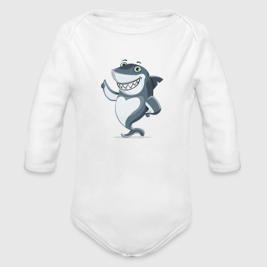 Amusing amusing shark - Organic Long Sleeve Baby Bodysuit