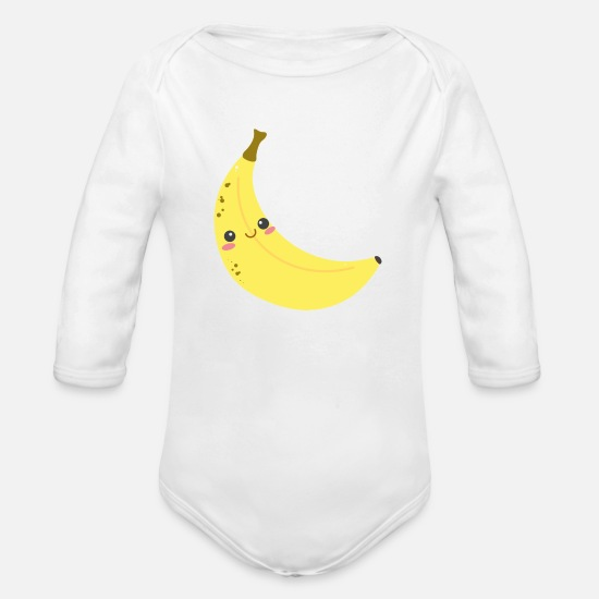 Banana Baby Clothing - Cute Banana - Organic Long-Sleeved Baby Bodysuit white