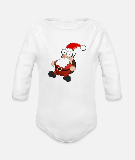 Red Baby One Pieces - santa claus - Organic Long-Sleeved Baby Bodysuit white