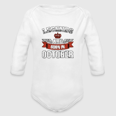 October Shirt Present Birthday Gift Idea Legends - Organic Long Sleeve Baby Bodysuit