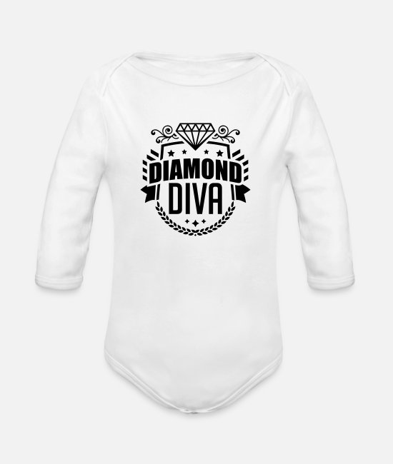 Diva Baby One Pieces - diamond_diva_pi1 - Organic Long-Sleeved Baby Bodysuit white