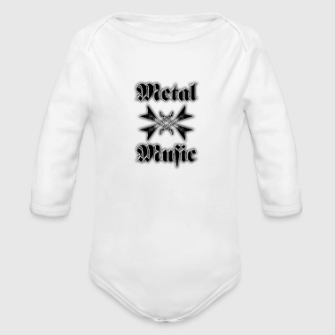 metal music guitars - Organic Long Sleeve Baby Bodysuit