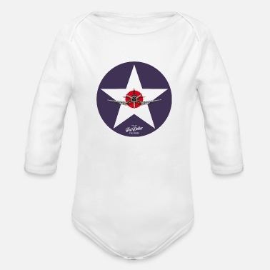 Navy Star - Organic Long-Sleeved Baby Bodysuit