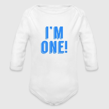 I'm One! First Birthday - Organic Long Sleeve Baby Bodysuit