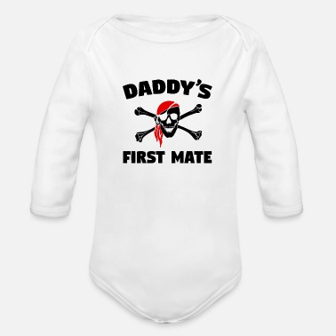 Skull Daddy's First Mate - Organic Long Sleeve Baby Bodysuit