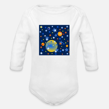 Celestial Bodies Celestial Stars and Planets - Organic Long Sleeve Baby Bodysuit