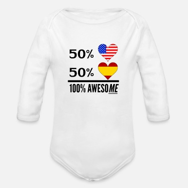 Spanish Half American Half Spanish 100% Awesome - Organic Long-Sleeved Baby Bodysuit