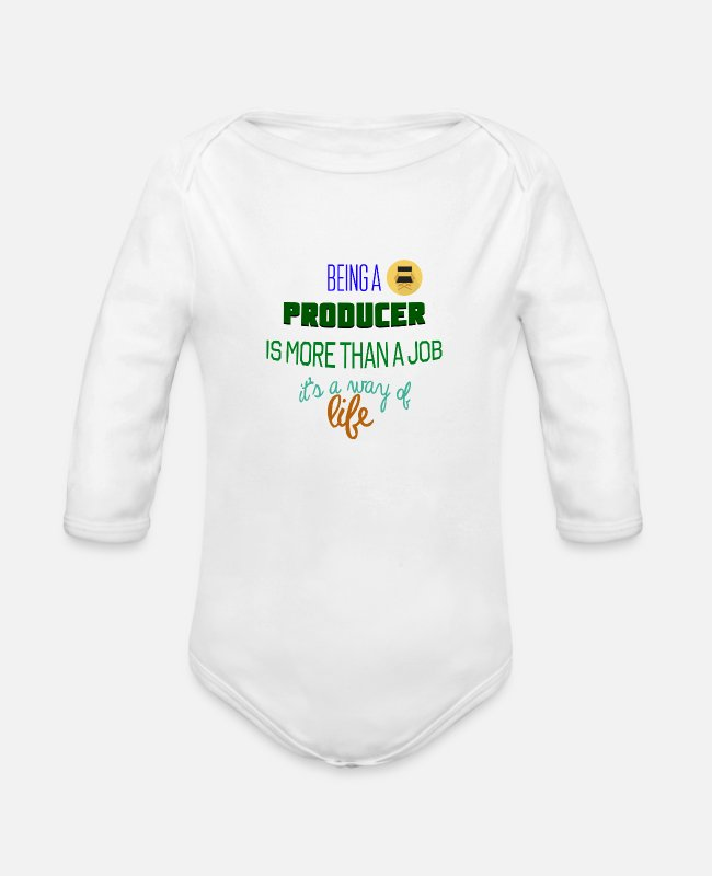 Producer Baby One Pieces - Being a producer - Organic Long-Sleeved Baby Bodysuit white