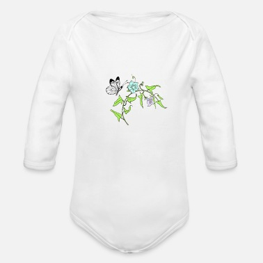 Frog Drawing by hands of a branch of summer grasses - Organic Long Sleeve Baby Bodysuit