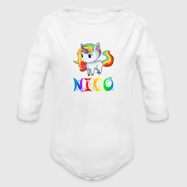 Nico Unicorn - Organic Long Sleeve Baby Bodysuit