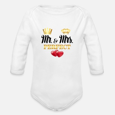 Mr And Mrs Mr Mrs Perfect - Organic Long-Sleeved Baby Bodysuit