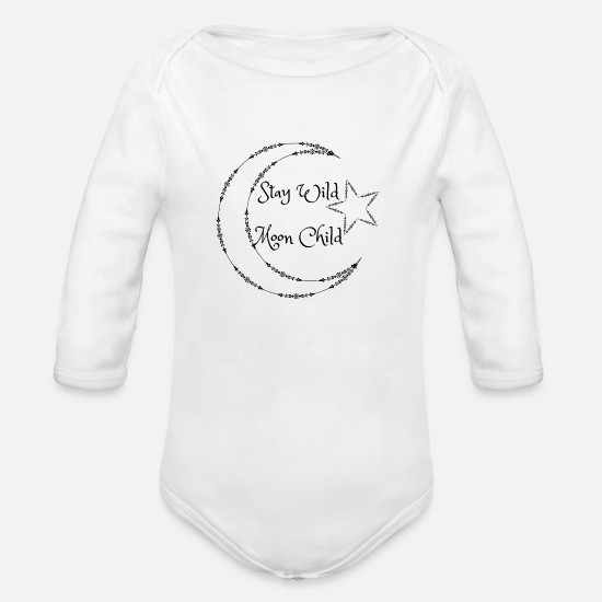 Moon Baby Clothing - Stay Wild Moon Child - Organic Long-Sleeved Baby Bodysuit white