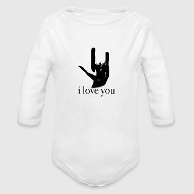sign language I love you - Organic Long Sleeve Baby Bodysuit